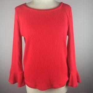 J.Crew Knit Top Size L Bell Sleeve Orange